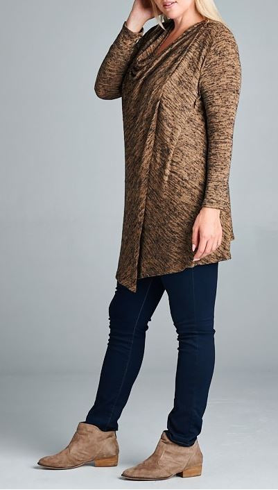 JUST LIKE THAT A CARDIGAN SWEATER IN BROWN MIX [product vendor] - Life is Chic Boutique