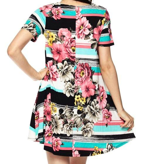 SEASIDE ESCAPE STRIPE FLORAL DRESS IN MINT MIX [product vendor] - Life is Chic Boutique