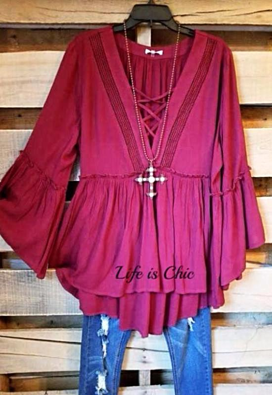 ALL THE TIME  EMBELLISHED TUNIC IN BURGUNDY - SALE [product vendor] - Life is Chic Boutique