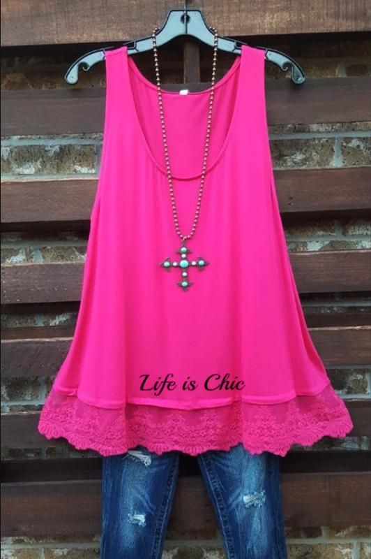 PRETTY LACE LAYERING BASIC TOP IN HOT PINK [product vendor] - Life is Chic Boutique