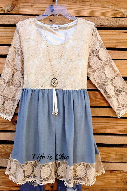 DOWNTOWN ROMANCE LACE ROSES DRESS - BLUE [product vendor] - Life is Chic Boutique