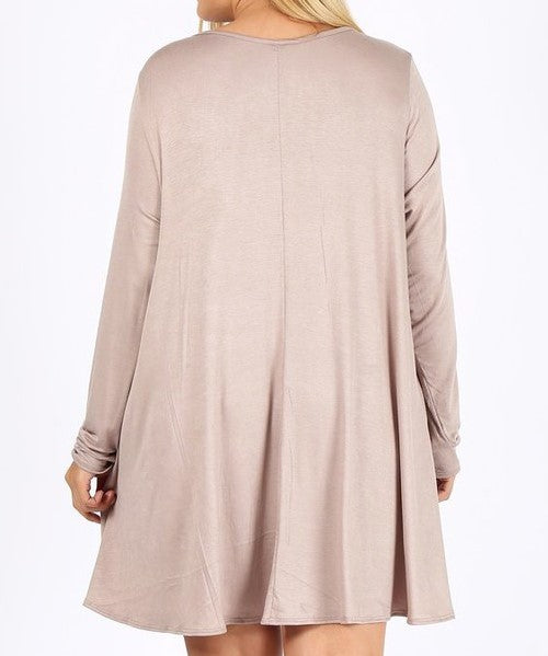 DOWNTOWN DARLING CASUAL LONG SLEEVE COMFY DRESS IN TAUPE 3X 4X 5X---------------sale