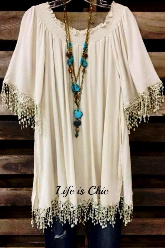 INSPIRATIONAL BEAUTY FRINGE LACE TUNIC IN BEIGE [product vendor] - Life is Chic Boutique