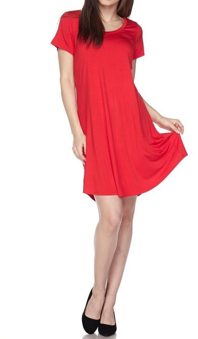 SIMPLE IS BETTER EASY CASUAL COMFY T-DRESS IN RED