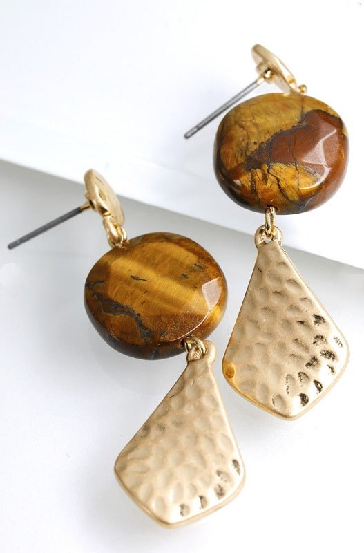TIGER EYES NATURAL STONE CHARM EARRINGS
