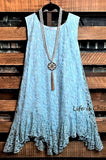 BEAUTIFUL MUSE IN ROSES LACE DRESS IN AQUA & TAUPE
