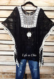 GO OUT IN STYLE LACE CROCHET FRINGE TUNIC IN BLACK [product vendor] - Life is Chic Boutique