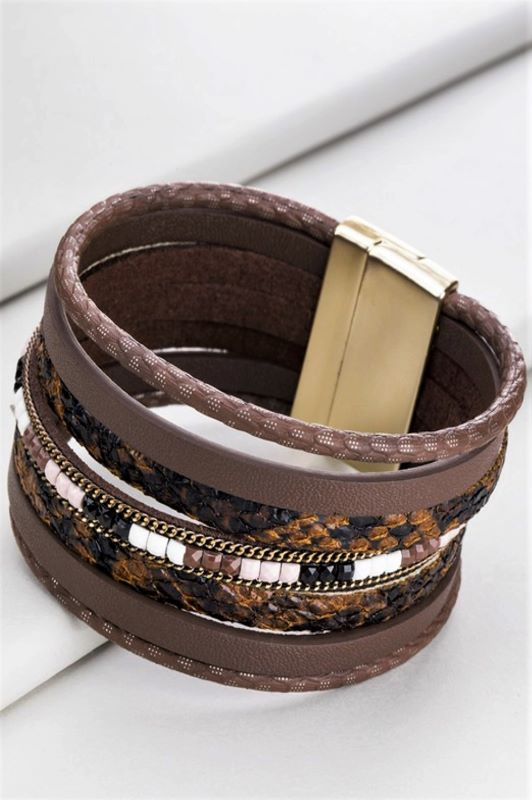 FAB ANIMAL PRINT BRACELET IN BROWN