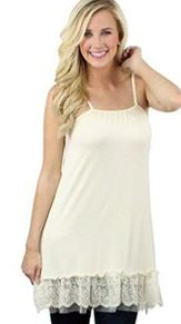 lace slip dress extender in beige