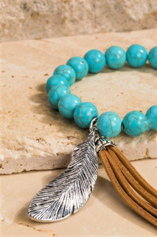 NATURAL STONE TURQUOISE BRACELET WILD FEATHER