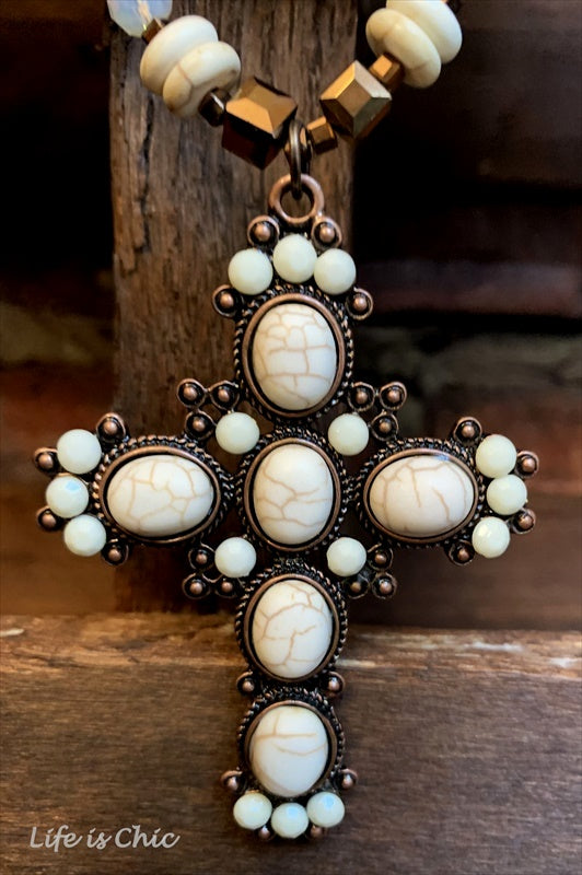 MYSTIC MOON CROSS VICTORIAN INSPIRED SET NECKLACE