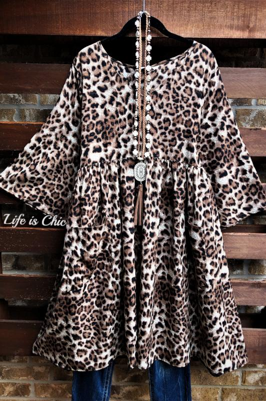 IN FULL SWING LEOPARD PRINT WITH PATCHED POCKETS DRESS