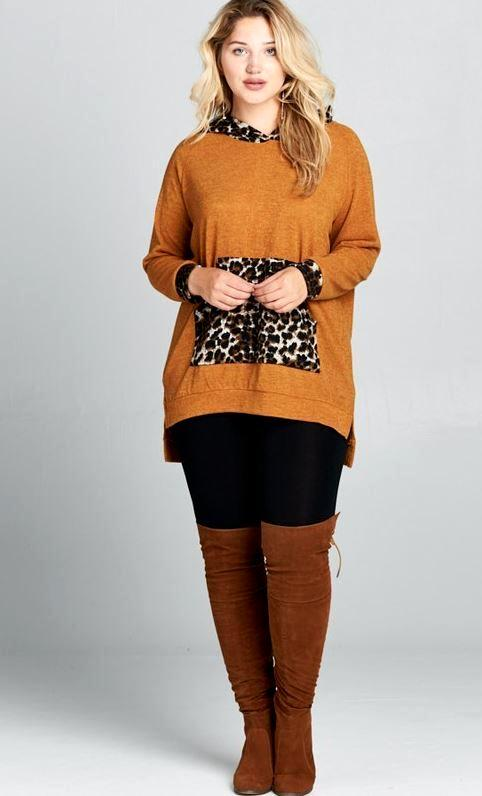 CATCHING EYES LEOPARD HOODIE AND POUCH SIDE SLIT SWEATER IN MUSTARD