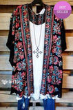 ART OF COLOR BLACK MULTI EMBROIDERED KIMONO [product vendor] - Life is Chic Boutique