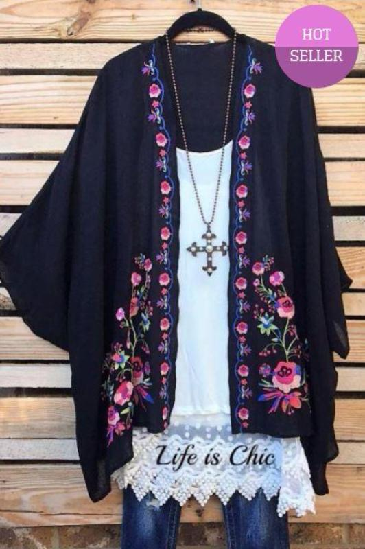EMBROIDERED VINTAGE FLORAL KIMONO IN BLACK & MULTI [product vendor] - Life is Chic Boutique