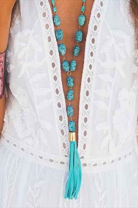 LOOK AT ME TURQUOISE SUEDE TASSEL NECKLACE