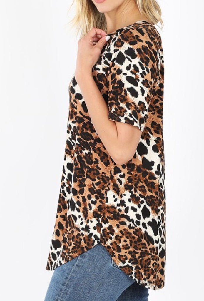 JUST WILD ABOUT YOU LEOPARD TOP IN MULTI-COLOR