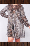 PRETTY LEOPARD PRINT LUX VELVET DRESS IN BROWN