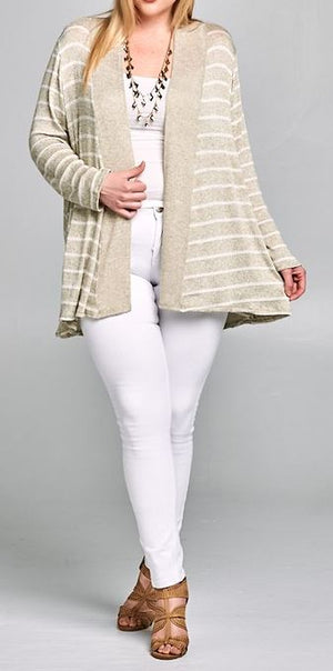EVERYDAY CLASSIC DUSTER STRIPED CARDIGAN IN SAGE MULTI [product vendor] - Life is Chic Boutique