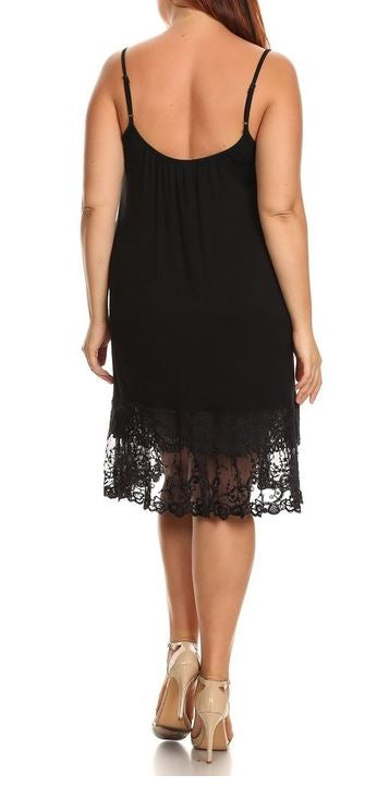 FOREVER MINE LACE LAYERING DRESS EXTENDER SLIP IN BLACK [product vendor] - Life is Chic Boutique