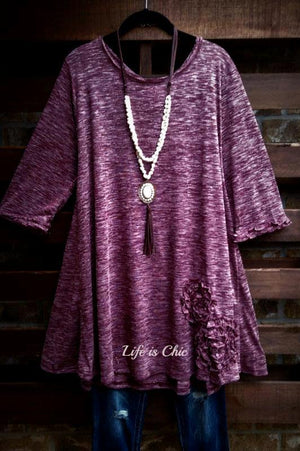 BEAUTY PERSONIFIED FLORAL RUFFLE DETAIL T-SHIRT TUNIC IN BURGUNDY