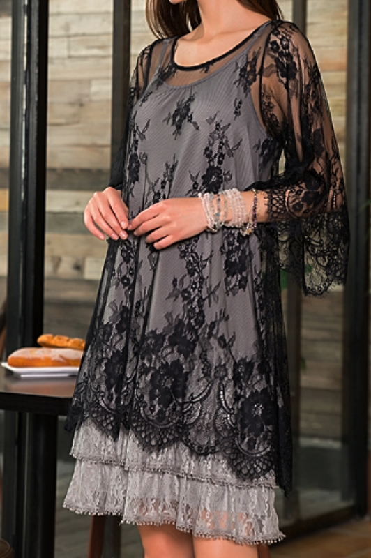 AMORE MIO CHARMING LACE SHEER DUSTER TUNIC IN BLACK