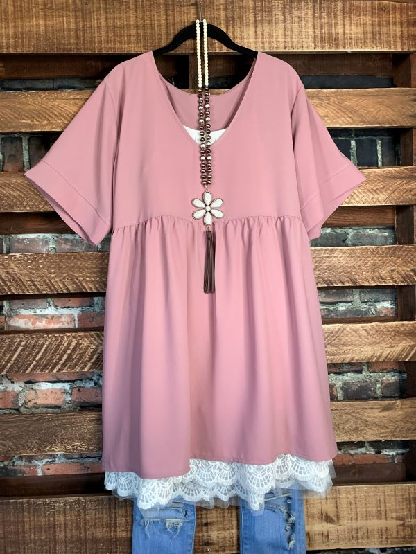 Easy To Love  Comfy Casual Tunic in Rose