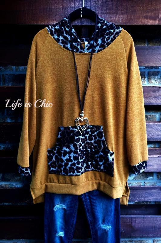 CATCHING EYES LEOPARD HOODIE AND POUCH SIDE SLIT SWEATER IN MUSTARD [product vendor] - Life is Chic Boutique