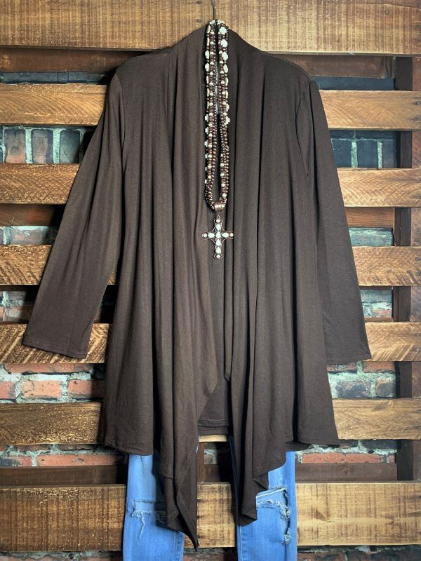 SIMPLY PERFECT SET 2 PCS CARDIGAN & TANK TOP MATCHING - BROWN