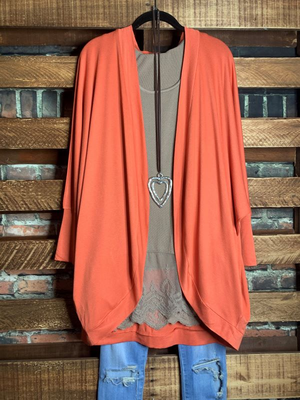 THE EVERYDAY CASUAL CARDIGAN IN CORAL---------------sale