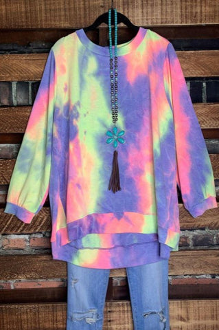 BE INSPIRED TIE DYE TEE TOP TUNIC IN TEAL 1X 2X 3X