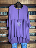 JUST THE SIMPLE THINGS CASUAL COMFY BABYDOLL TOP IN LILAC