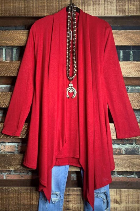 SIMPLY PERFECT SET 2 PCS CARDIGAN & TOP MATCHING IN RED