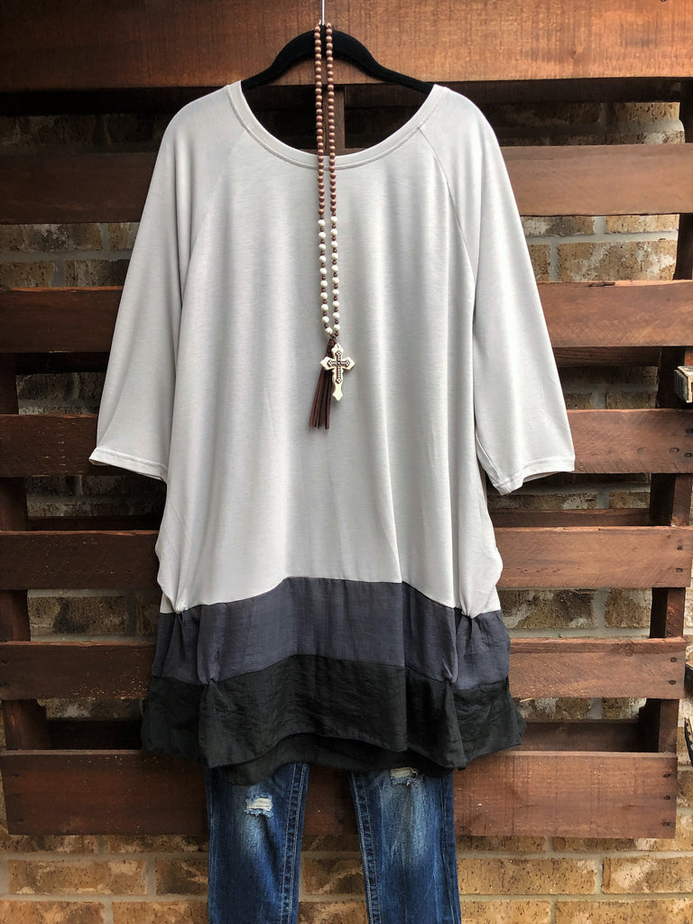 FOR YOUR HEART ONLY PRETTY T-TUNIC IN ASH GRAY 6-22 -----sale