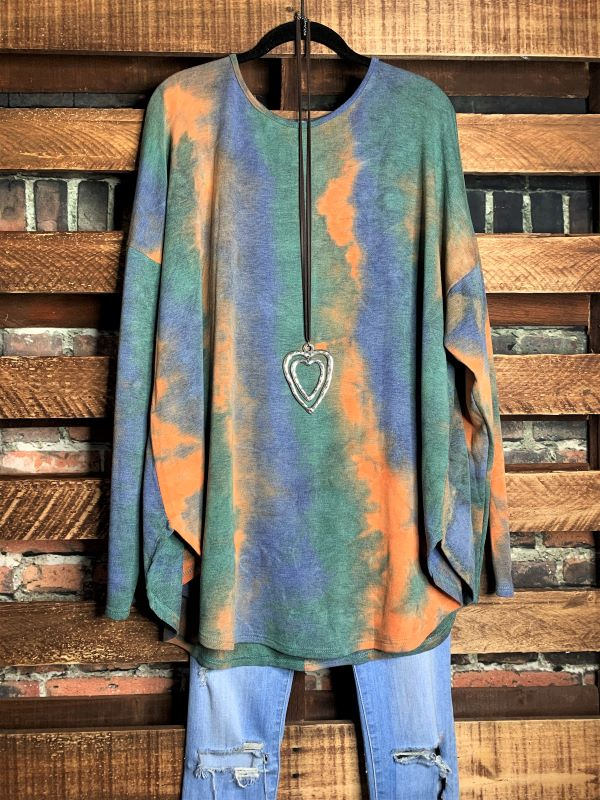 FEELING FREE TIE DYE TOP/TUNIC IN MULTI-COLOR 3X 4X 5X