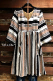 AT THAT MOMENT STRIPED DRESS PATCHED POCKETS IN BLACK & TAUPE