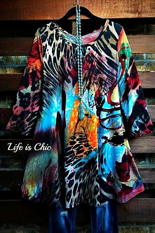 DESERT WINDS ANIMAL PRINT TUNIC MULTI-COLOR