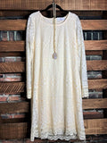 CROSS MY HEART LACE EMBROIDERED DRESS IN BEIGE