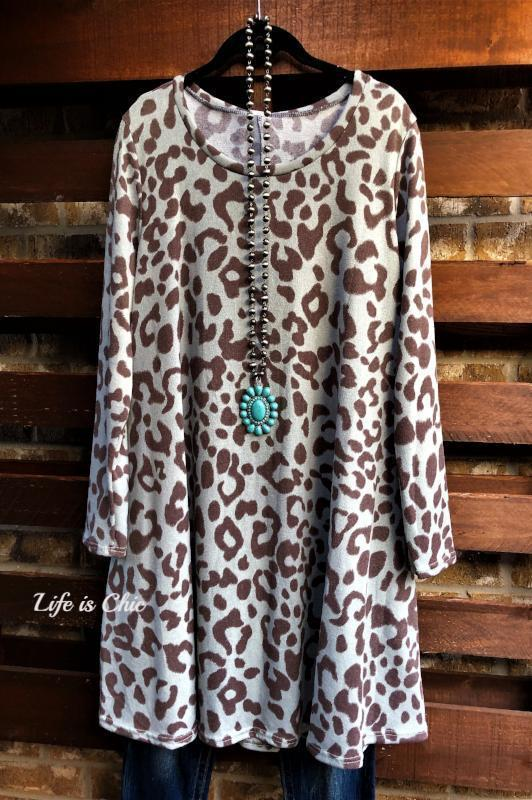 FAB ANIMAL PRINT SWEATER DRESS IN BLUE GRAY MIX [product vendor] - Life is Chic Boutique