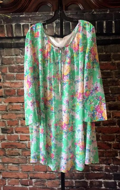 "FLORAL GREEN MULTI-COLOR LINED TUNIC size "" 2X "" - SALE [product vendor] - Life is Chic Boutique"