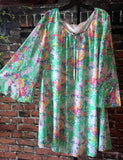 FLORAL GREEN MULTI-COLOR LINED TUNIC size