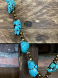 CHOOSE JOY CRYSTAL CROSS TASSEL NECKLACE TURQUOISE