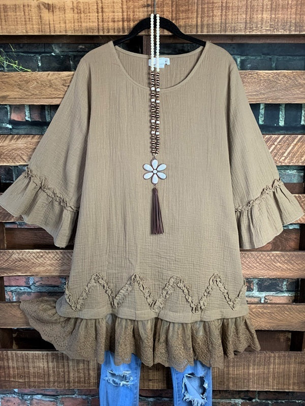 FOREVER WITH YOU LACE RUFFLE COTTON TUNIC IN MOCHA