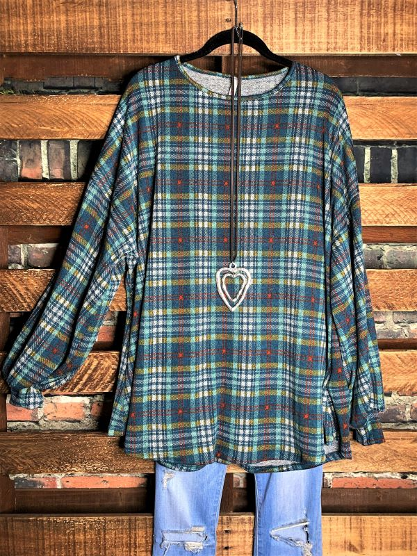 Happy To Be Plaid Sweater Top in Teal 14-24