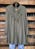 ON YOUR HEART LACE DRESS IN OLIVE SIZE 8-14