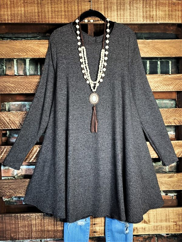 LET ME LOVE YOU DRESS WITH CHARMING ELBOW PATCH IN DARK GRAY