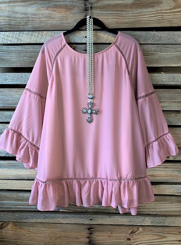 FOLLOW MY HEART VINTAGE PINK STYLISH BLOUSE-----sale