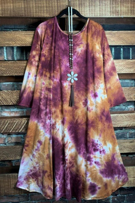 Live in Harmony With The Universe Tie Dye Dress in Multi-Color 3X 4X 5X