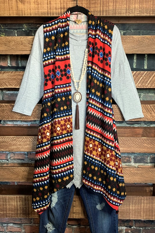 GO OUT IN STYLE BOHO VEST IN MULTI-COLOR 1X 2X 3X