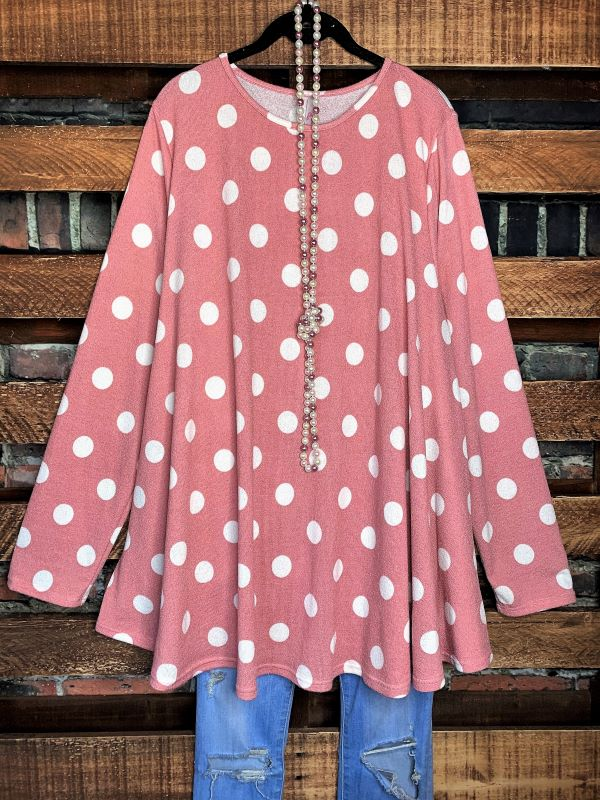 DARLING BE MINE POLKA DOT TUNIC IN VINTAGE PINK - 3X - 4X -5X